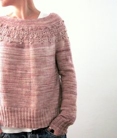 Arwen is a round-yoked sweater that is worked seamlessly from the top down. After finishing the neck ribbing some short-rows are worked back and forth to create a higher back neck and then the round-yoke is worked top down with a cute 'bobbly' lace pattern band to sleeve separation. Sleeve stitches are placed on hold to work the body top down to the long 2x2 Rib with a light A-line shaping. Sleeve stitches are then picked up again to work the sleeves top down in rounds to the 2x2 Rib…