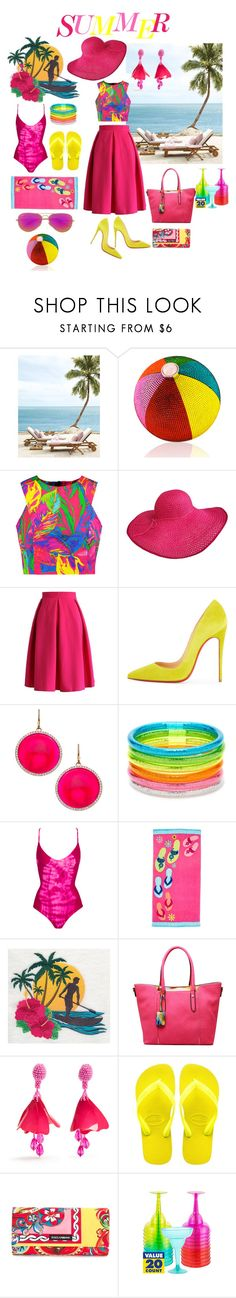 """Summer time"" by emeselanyi ❤ liked on Polyvore featuring Judith Leiber, Milly, Chicwish, Christian Louboutin, Madison Precious Jewels, Forever 21, Bettinis, MKF Collection, Oscar de la Renta and Havaianas"