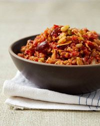 """""""The bright-flavored take here is adapted from a recipe by Anissa Helou's Syrian chef-friend Mohammed Antabli. Pistachios, cashews and freshly toasted pine nuts, almonds and walnuts give it a chunky texture, while onions and red bell peppers make it tangy-sweet."""""""