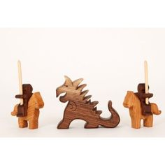 BumblebeeToys.com - Knights And Dragon Set - These little knights fighting the dragon are perfect by themselves, or with our Mini Walnut Castle Blocks!