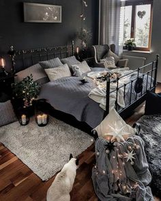 Darkinterior on [Werbung wegen Nennung] Hello I will visit you soon today! One of those days I don t have the feeling to be wake. At least I Room Ideas Bedroom, Home Decor Bedroom, Gray Bedroom, Master Bedroom, Aesthetic Room Decor, Gray Aesthetic, Cozy Room, Dream Rooms, Cozy House