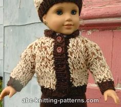ABC Knitting Patterns - American Girl Doll Sporty Snowsuit (Jacket, Pants and Hat)