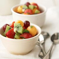 Fruit  Salad with Honey-Mint Dressing!  Perfect  with Local Honey! Perfect for after school!