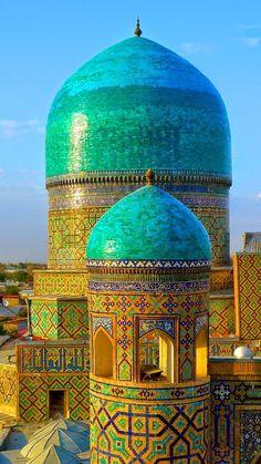 Minaret of Tila Kari Madressah in Samarkand Uzbekistan