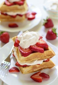 Strawberry Shortcake Waffles with Maple Whipped Cream #strawberry #waffles #breakfast