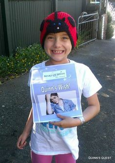Quinn was VERY excited when she found out her wish to meet Justin Bieber was coming true!