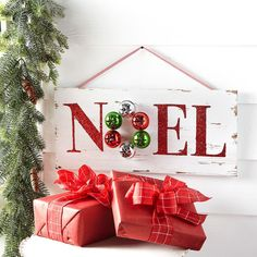 slv michaels favorite red and green merry mini noel wooden plaque - Michaels Christmas