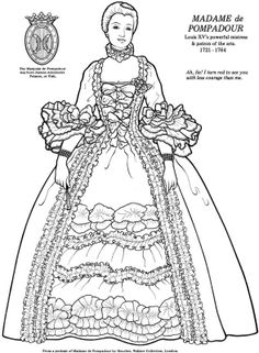 of Great Women Paper Dolls Coloring Book, from Bellerophon Coloring Book Pages, Coloring Sheets, Costume Venitien, Rococo Fashion, Paper People, Vintage Paper Dolls, Great Women, Colored Paper, Art Images