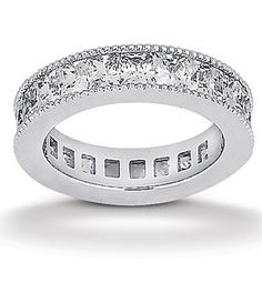 This Stunning Channel Style Milgrain Edge Diamond Eternity Wedding Band Is Set With Princess Cut Diamonds Of G/H Color And VS Clarity Available In Mulitiple Carat Weights In Your Choice Of & White, Yellow Or Rose Gold, Platinum and Palladium Diamond Stone, Diamond Bands, Diamond Wedding Bands, White Gold Wedding Bands, Diamond Anniversary, Princess Cut Diamonds, Gold Engagement Rings, Eternity Bands, Diamond Are A Girls Best Friend