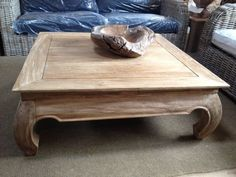 Rustic Recycled Teak Opium Coffee 1m Sq   Sustainable Furniture