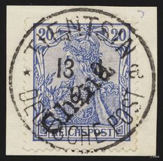 """Philasearch.com - German office abroad China, Petschili Issue, Michel 11- """"1900, China hand stamp, 20 Pfg., lilac ultramarine, on piece, perfect usado """"Tientsin a DP 13 1 01"""", postmark the type I, in outstanding quality, older marks and expertized Jäschke-Lantelme with new certificate with photograph, Michel 1200,--. """"  Lot condition   Dealer HBA  Auction Starting Price: 360.00 EUR"""