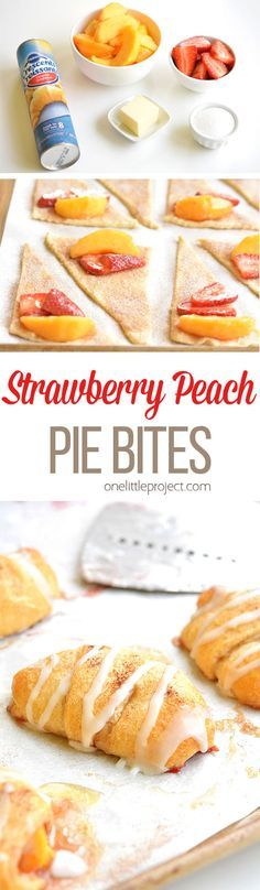Bake at 375 for min.These strawberry peach pie bites taste amaaaaazing and they're SO EASY. Fresh strawberries and fresh peaches and so simple to make! Bake at 375 for min. Fruit Recipes, Sweet Recipes, Cooking Recipes, Peach Recipes Easy, East Dessert Recipes, Simple Dessert Recipes, Easy Peach Pie, Easy Pie, Strawberry Recipes