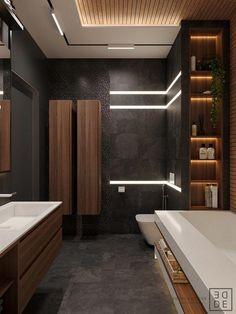 35 Deluxe Interior Design Ideas With Wood Slat Walls Bathroom Design Luxury, Modern Bathroom Design, Modern House Design, Modern Interior Design, Interior Design Inspiration, Design Ideas, Bath Design, Interior Ideas, Interior Architecture