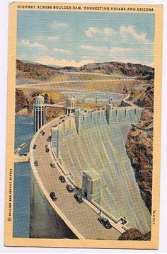 Highway Across Hoover Boulder Dam Connect Arizona Nevada Vintage Linen Postcard