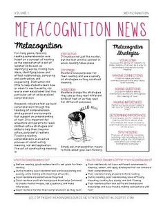 Metacognition News (Freebie) for Parents