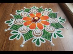 Simple,Easy and Quick freehand Rangoli designs with colours/ Rangoli Designs by Shital Daga Rangoli Designs Latest, Rangoli Designs Flower, Rangoli Kolam Designs, Rangoli Designs Images, Rangoli Ideas, Rangoli Designs With Dots, Flower Rangoli, Beautiful Rangoli Designs, Flower Designs