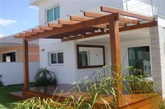 Pergola Ideas For Small Backyards Code: 8291276834 Veranda Pergola, Front Porch Pergola, Pergola Attached To House, Pergola Patio, Backyard Patio, Pergola Ideas, Small Yard Landscaping, Small Backyard Pools, Small Backyards
