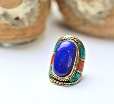 LapisCoral Tibetan RingTurquoise ringBoho ringTibetan Statement ringBohemian ringNepali jewelryGypsy ringHippie ringFree shipping by ZsTribalTreasures on Etsy