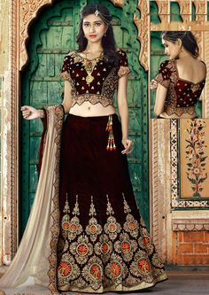 Maroon lehenga choli with dupatta. Work - Heavy zari, resham embroidery with stone and diamond work having lace border. To complete the look matching choli and dupatta is available with this product. Ghagra Choli, Bridal Lehenga Choli, Silk Lehenga, Bridal Lehenga Online, Bridal Necklace Set, Lehnga Dress, Indian Beauty, Bellisima, Suits For Women