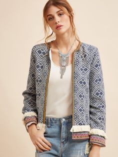 Shop Fringe Trim Tribal Jacket With Embroidered Tape online. SheIn offers Fringe Trim Tribal Jacket With Embroidered Tape & more to fit your fashionable needs. Coats For Women, Jackets For Women, Clothes For Women, Short Jackets, Casual Jackets, Bohemian Mode, Boho Chic, Types Of Jackets, Estilo Boho
