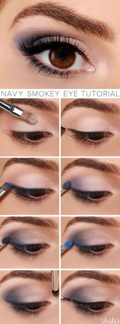 Navy Smokey Eye Makeup Tutorial - If eyes are the window to the soul, make them smolder with our navy blue smokey eye tutorial! It's our favorite sultry look for spring. Navy Eye Makeup, Eye Makeup Tips, Mac Makeup, Makeup Trends, Makeup Ideas, Makeup Hacks, Makeup Brushes, Navy Blue Dress Makeup, Eyeliner Ideas