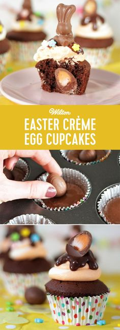 This will be the tastiest Easter egg hunt this year! Bake an egg into each of these tasty cupcakes for a special Easter surprise! #wiltoncakes #easter #easterdesserts #desserts #surprise #surprisecupcakes #cupcakes #cremeegg #chocolate #candy #dessertideas #cupcakeideas     \