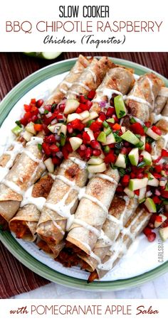 Slow Cooker Creamy BBQ Raspberry Chipotle Chicken (Taquitos with Pomegranate Apple Salsa)