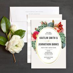 Floral Stripes Wedding Invitations by Day Dream Prints   Elli
