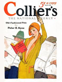 "Collier's 1929-07-27  Woman standing while riding a subway, streetcar, or bus, reading When Knighthood Was in Flower, while two men sit behind her, reading the newspaper and ignoring their chivalrous duty to get up and give her their seat. Content: ""Old-Fashioned Pete,"" by Peter B. Kyne.     Artist: Anita Parkhurst  Source: Charles Perrien  Restoration by: Charles Perrien"