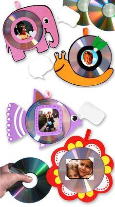 Cd's que viram divertidos porta-retratos! #DIY #reciclagem #cds