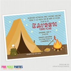 Camping  Birthday Party Invitations, personalized thank you cards, birthday invitations, party invitations & party decorations /   253