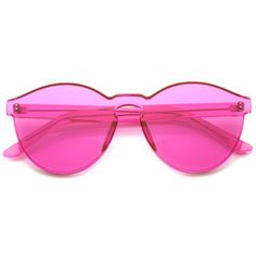 Rimless Monoblock Cut PC Color Lens Rimless Sunglasses A368 - Pink