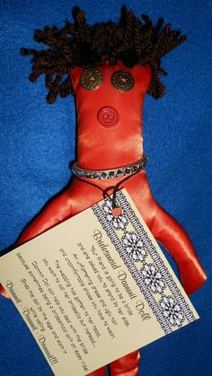 Bridesmaid Dammit Doll is wearing her uncomfortable orange satin dress- by tobeesgifts, $16.95