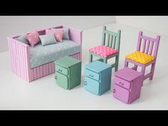 Muñeca Diy, Easy Diy Crafts, Home Crafts, Barbie House Furniture, Doll Furniture, Popsicle Stick Crafts House, Barbie Room, Miniature Furniture, Diy Dollhouse Furniture Easy