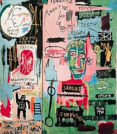 """nycartscene: """" continues thru Apr JEAN-MICHEL BASQUIAT Gagosian Gallery, 555 St., NYC """"It is not true that only the good die young, but Jean-Michel Basquiat did at 27 in He was not only. Keith Haring, Jean Michel Basquiat Art, Jm Basquiat, Basquiat Artist, Basquiat Tattoo, Basquiat Prints, Basquiat Paintings, Art Paintings, Painting Art"""