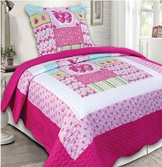 Kids' Quilt Sets - Mk Collection 2 Pc Bedspread Teensgirls Hot Pink Light Pink Flowers Apple New ** Read more reviews of the product by visiting the link on the image.
