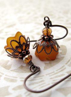Rust Orange Flower Earrings