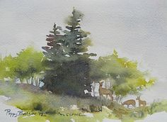 Deer in a Thicket by Poppy Balser Watercolor ~ 5 x 7