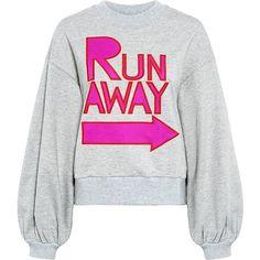 Karen Walker - Leska Sweatshirt ($150) ❤ liked on Polyvore featuring tops, hoodies, sweatshirts, patterned sweatshirt, white bell sleeve top, karen walker, print sweatshirt and white sweatshirt