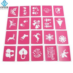OPHIR 20 Sheets Christmas Tattoo Templates Henna Airbrush Stencils for Airbrushing Professional Body Painting Kit _STE003