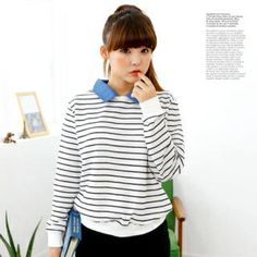 Buy 'Cocopop – Denim Collar Striped Pullover' with Free International Shipping at YesStyle.com. Browse and shop for thousands of Asian fashion items from South Korea and more!