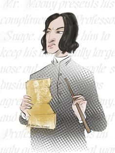 I created this piece today in mopey memorandum. Art by Meridth Gimbel. #RIPAlanRickman. #Snape.