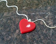 Red Heart Pendant Necklace, Valentines Day, Heart Jewelry $20 https://www.etsy.com/listing/174767625