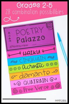 The poetry writing flip books is ideal for any poetry unit! There are a total of 28 combinations, with eight different poetry patterns. This is a perfect activity for Poetry Month!