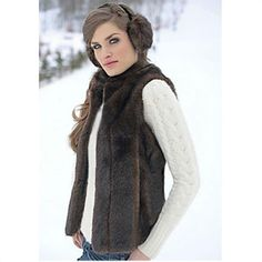 Fabulous-Furs Sable Mink Faux Fur Hook Vest Women - Donna Salyers'