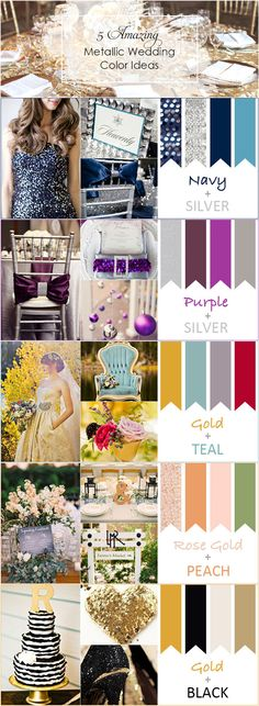2016 trending top 5 amazing metallic wedding color ideas