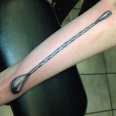 A Japanese style bar spoon by Donna Klein at Taylor Street Tattoo in Chicago. #bartender #bartenderlife #bartendersonly #alcohol #cocktails #taylorstreettattoo #donnaklein #donnakleintattoo