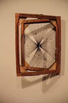 thread, tatting, lace, metal and glass found objects