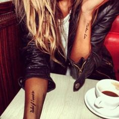 tattoo, leather jacket, blonde, coffee. Loved it!