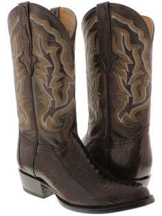 Men's genuine exotic ostrich leg skin brown cowboy boots western rodeo biker new